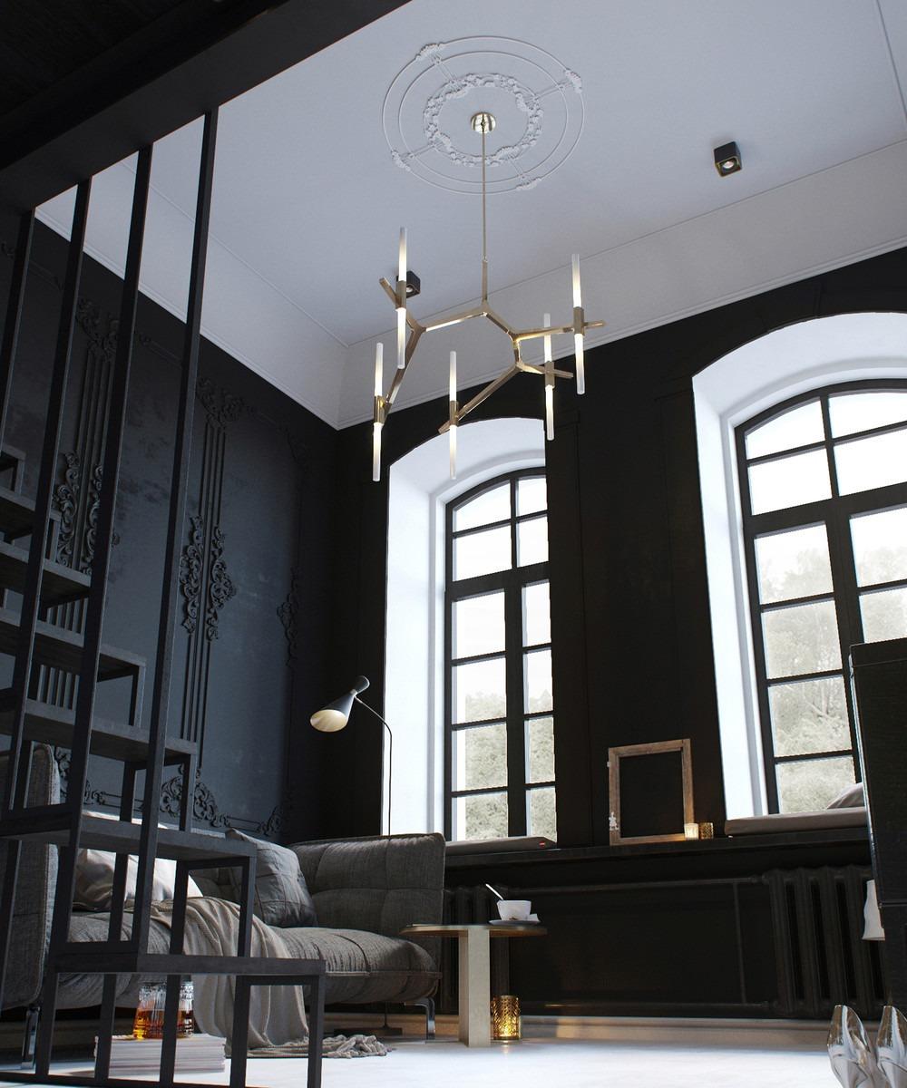 Гостиная спальня черная