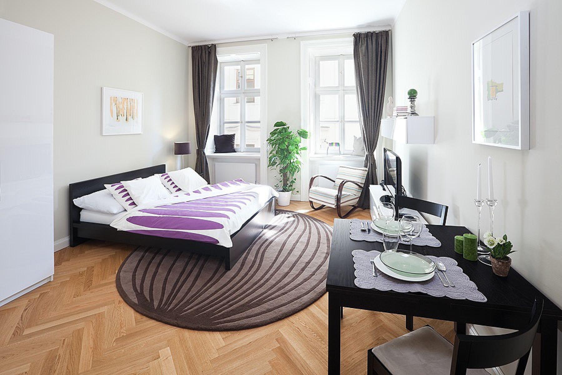 Декор совмещенной гостиной и спальни