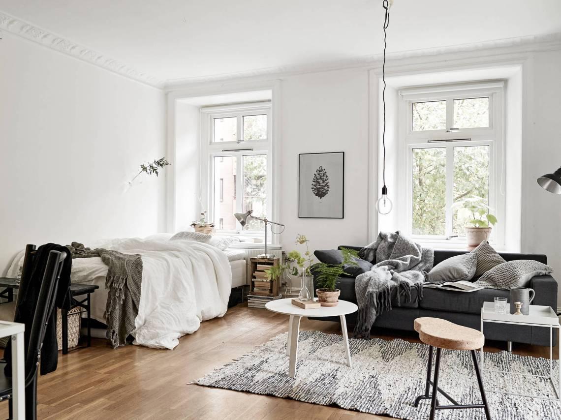 Совмещенная гостиная и спальня дизайн