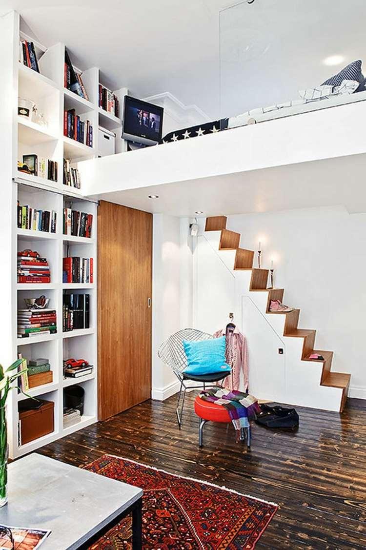 Совмещенная гостиная и спальня двухэтажная