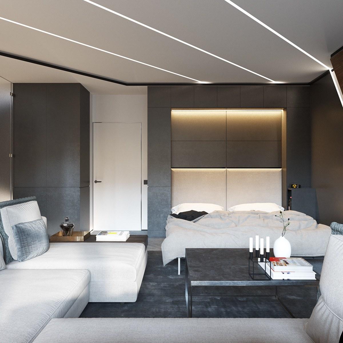 Гостиная спальня с модульной мебелью