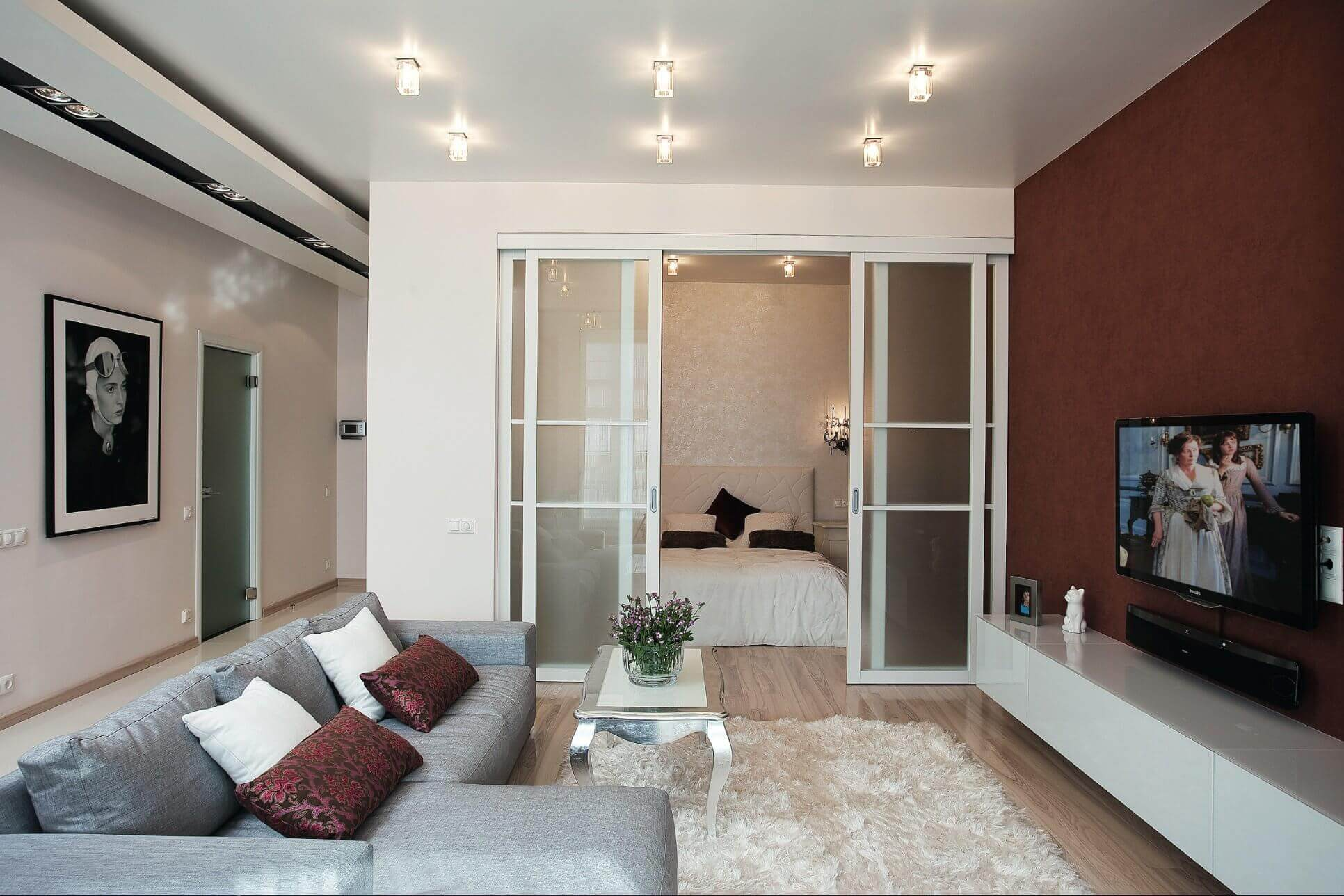 Совмещенная гостиная и спальня с перегородкой и дверями
