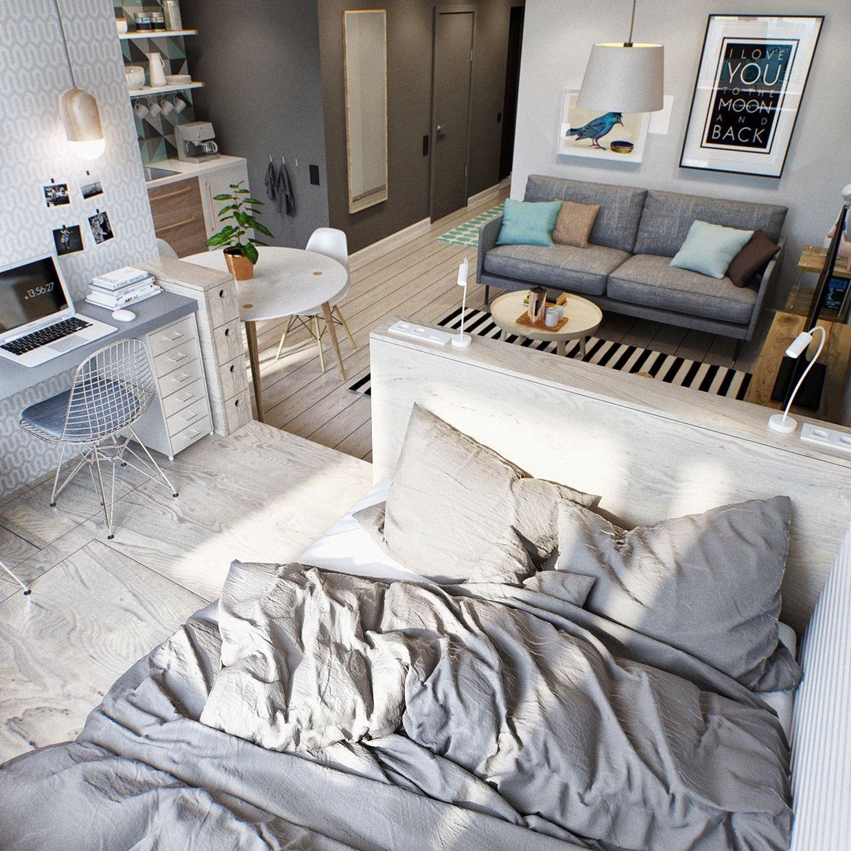 Совмещенная гостиная и спальня на подиуме