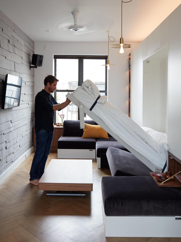 Совмещенная гостиная и спальня с раскладной мебелью