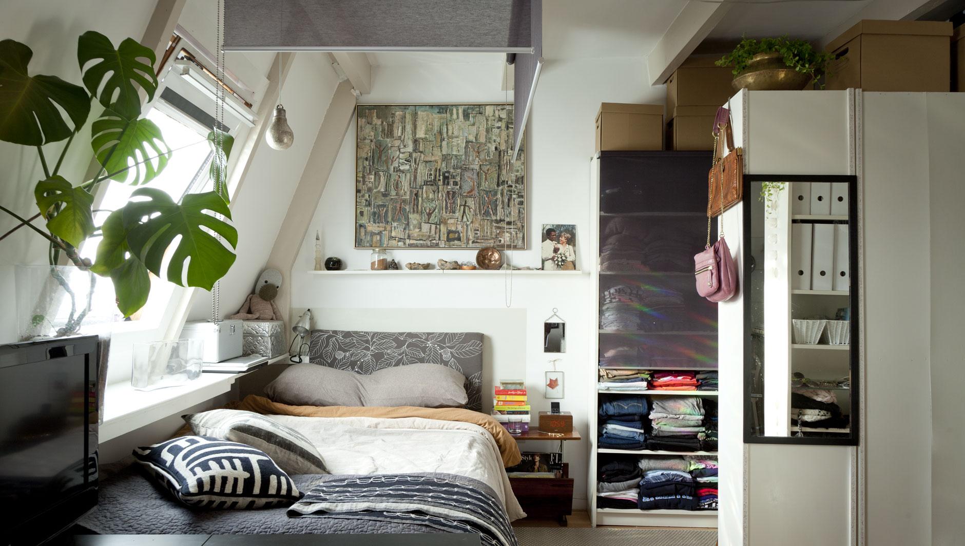 Совмещенная гостиная и спальня со шкафом