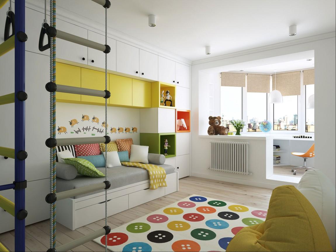 Дизайн однушки с балконом и детской
