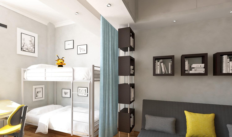 Детская для двоих детей в однушке с двухэтажной кроватью