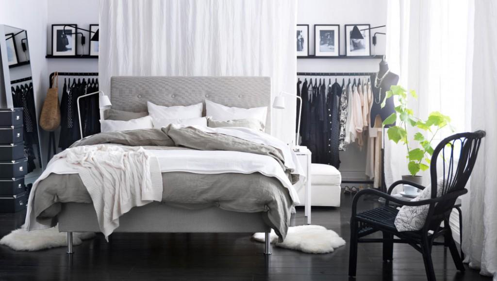 Спальня с гардеробной зоной