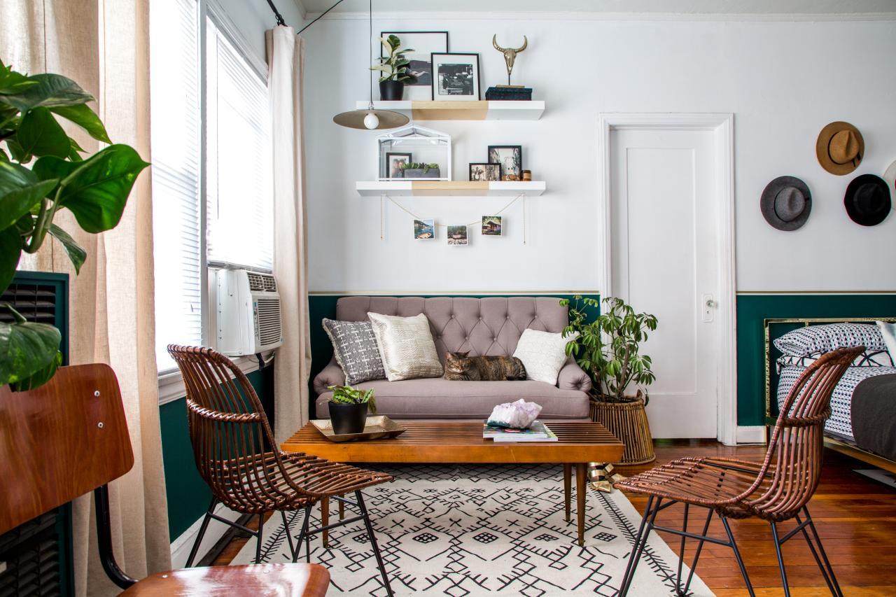 Дизайн однушки со спальным местом в стиле модерн