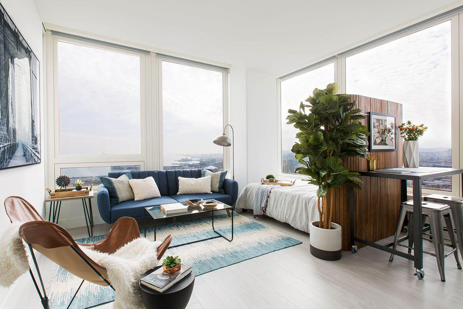 Дизайн однушки с панорамными окнами