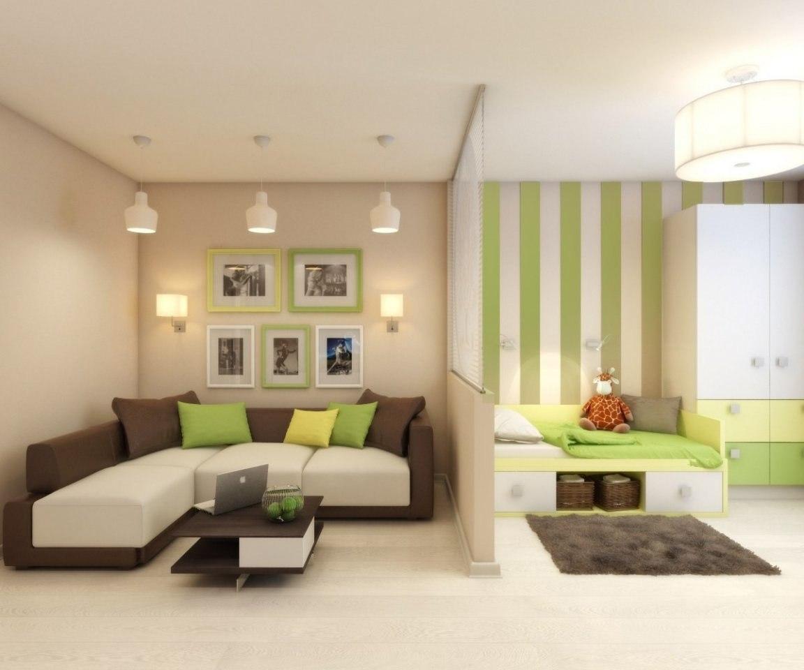 Дизайн однокомнатной квартиры с детской зеленой