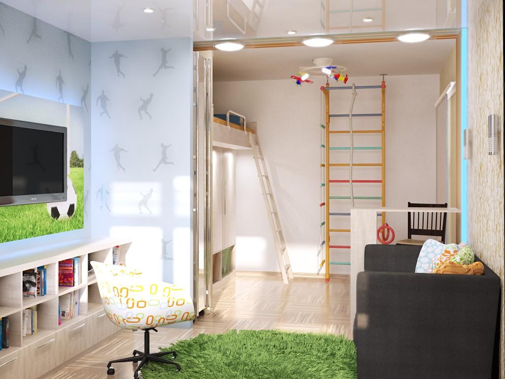 Детская зона для новорожденного со шведской стенкой