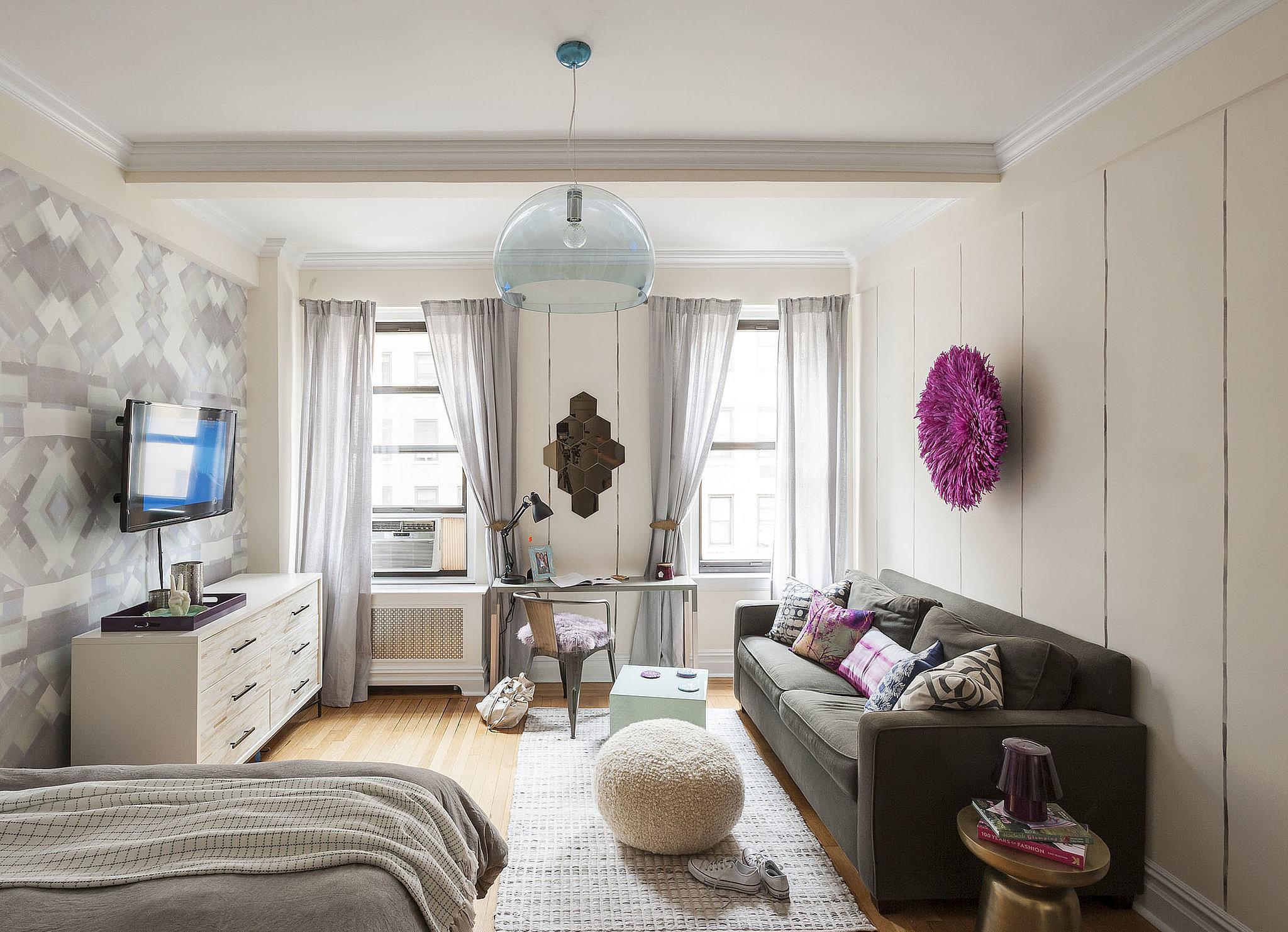 Дизайн обоев для однокомнатной квартиры с абстракцией