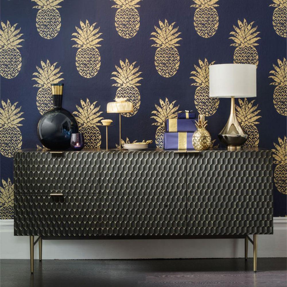 Дизайн обоев для однокомнатной квартиры с ананасами