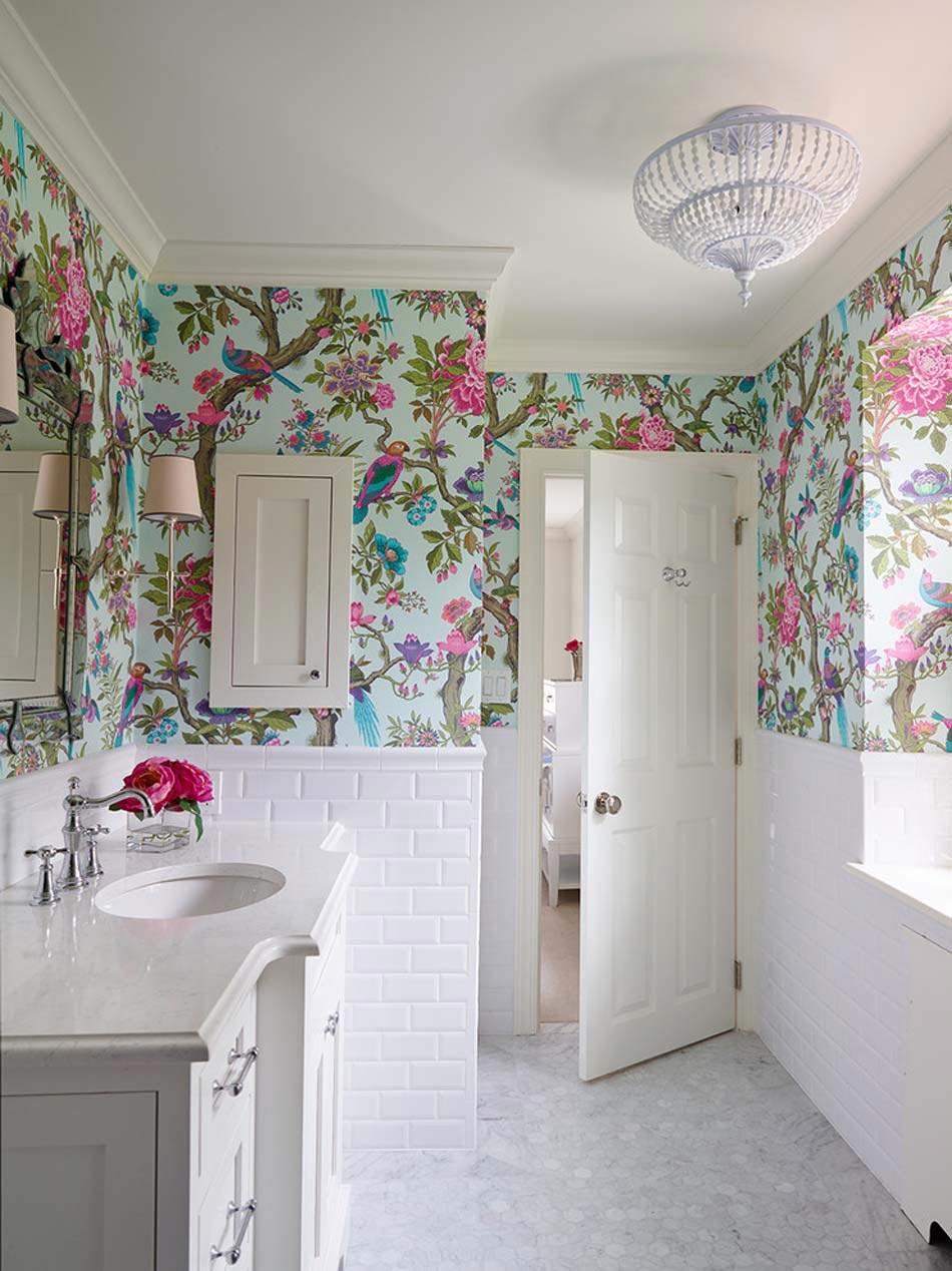 Дизайн обоев в ванной
