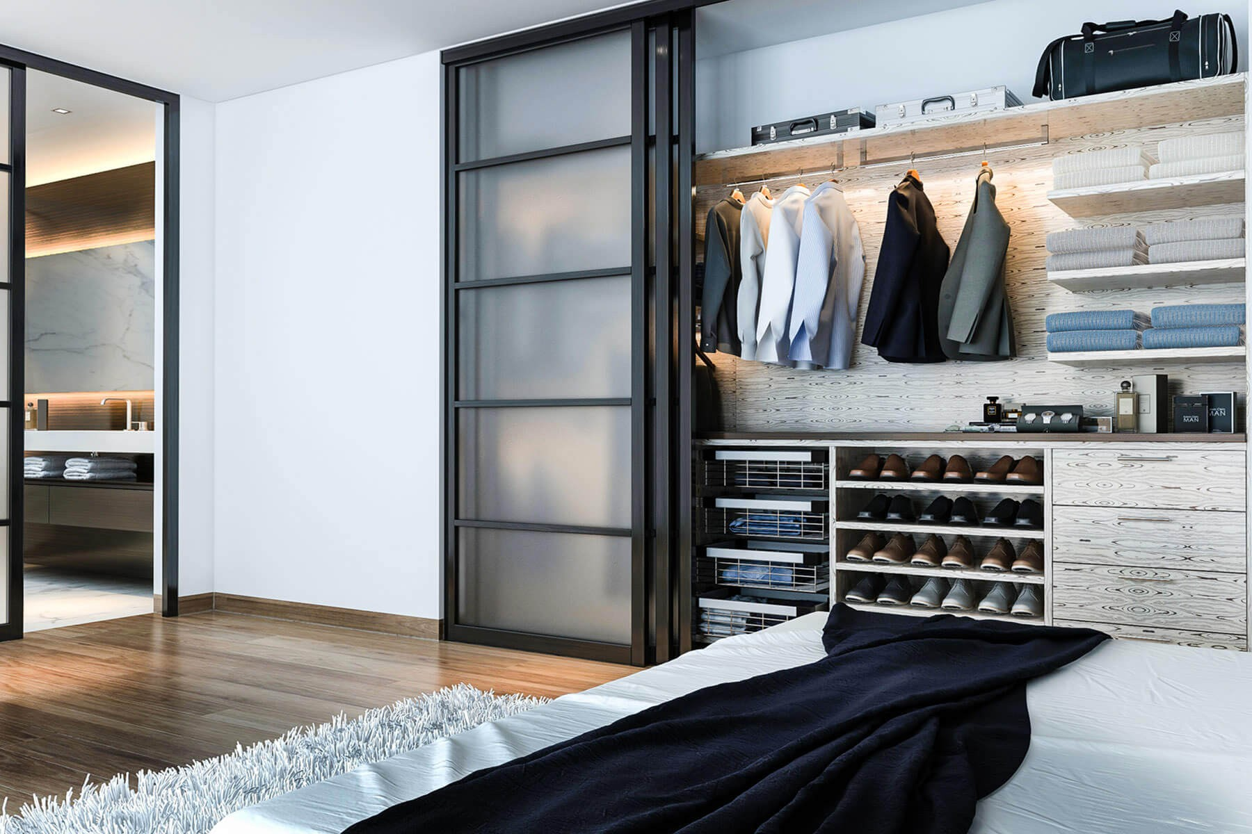 Шкаф купе со стеклянными дверками
