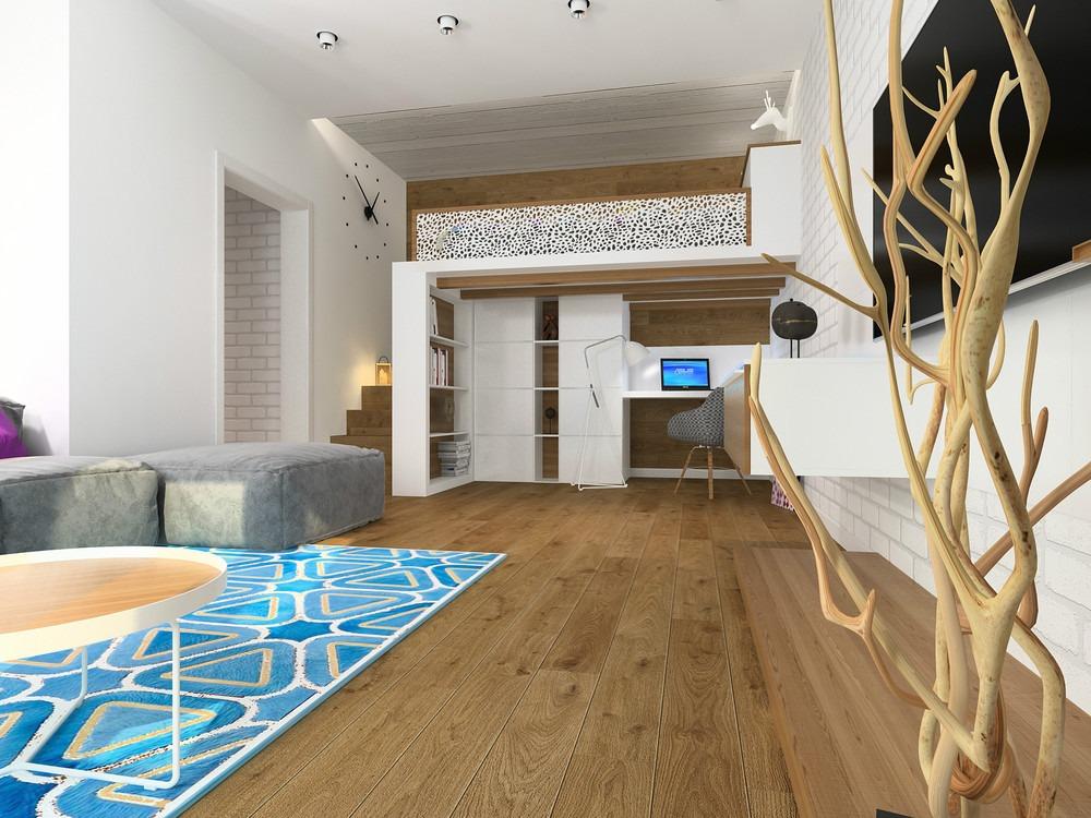 Исследуем третье измерение: кровать-чердак в интерьере однокомнатной квартиры