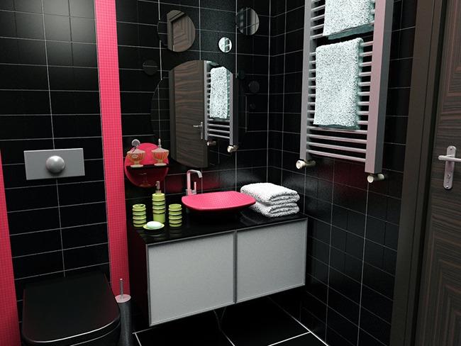 Черный и розовый в интерьере ванной
