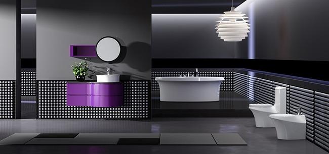 Черный и фиолетовый в интерьере ванной