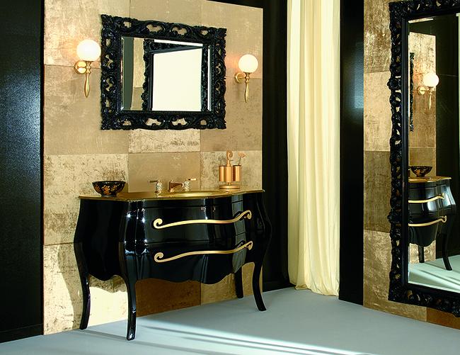 Черно-золотой в интерьере ванной