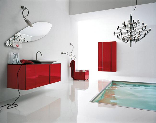 Красный и белый в ванной комнате