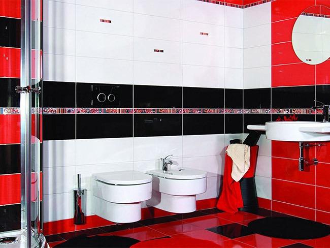 Красный и черный в интерьере ванной