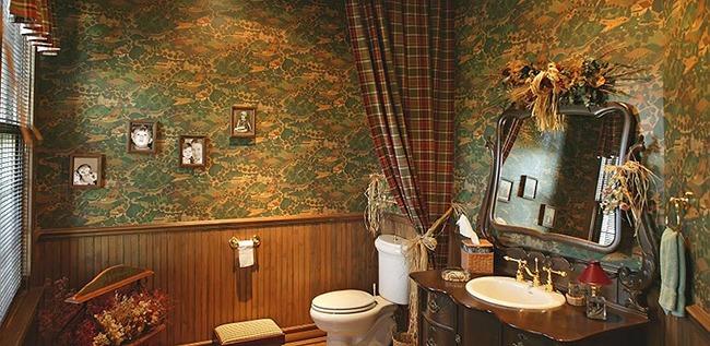 Стильный интерьер ванной кантри