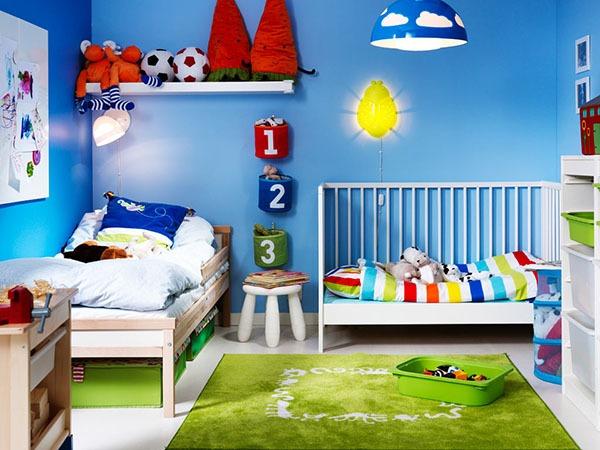 Детская для двоих синяя