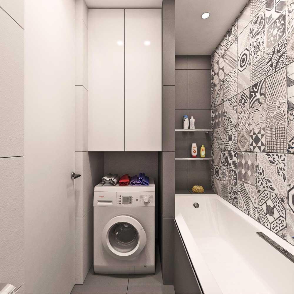 Стиральная машина в ванной комнате 3 кв м