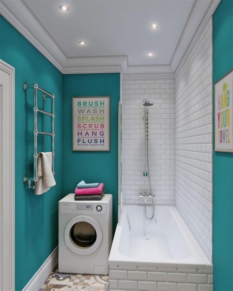 Стиральная машина в ванной комнате бирюзовой