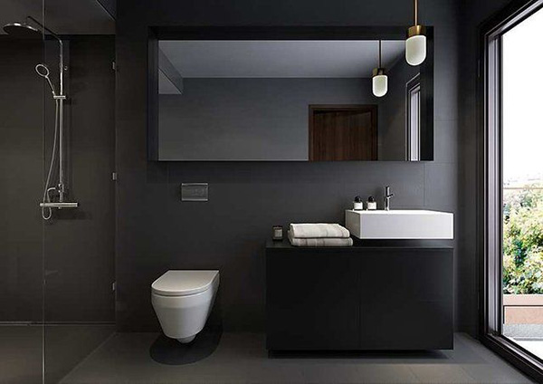 Черный цвет в интерьере ванной