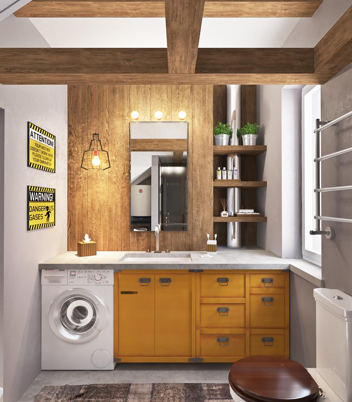 Стиральная машина в ванной комнате в стиле кантри