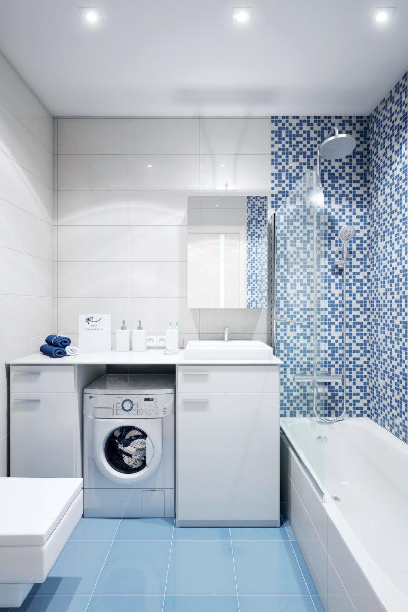 Стиральная машина в ванной комнате в корпусной мебели
