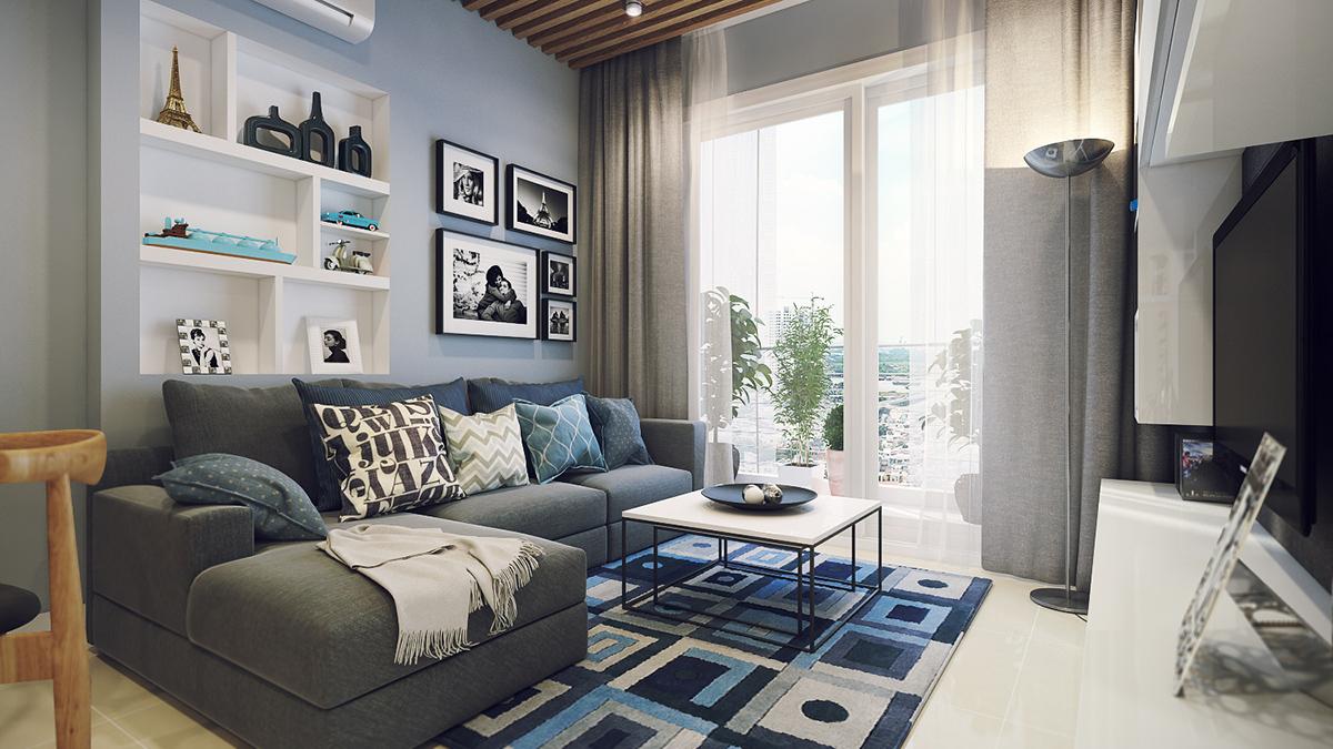 Обстановка однокомнатной квартиры с ковром