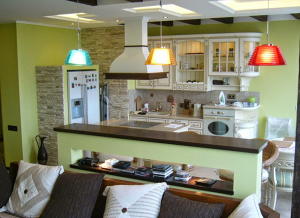 Зеленая кухня гостинная