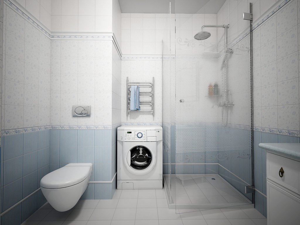 Стиральная машина в проеме в ванной комнате