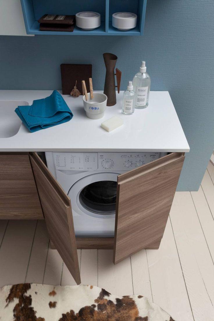 Стиральная машина в ванной комнате в стиле модерн