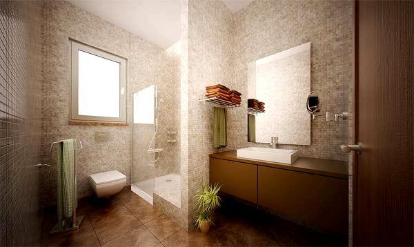 Душевая в большой ванной