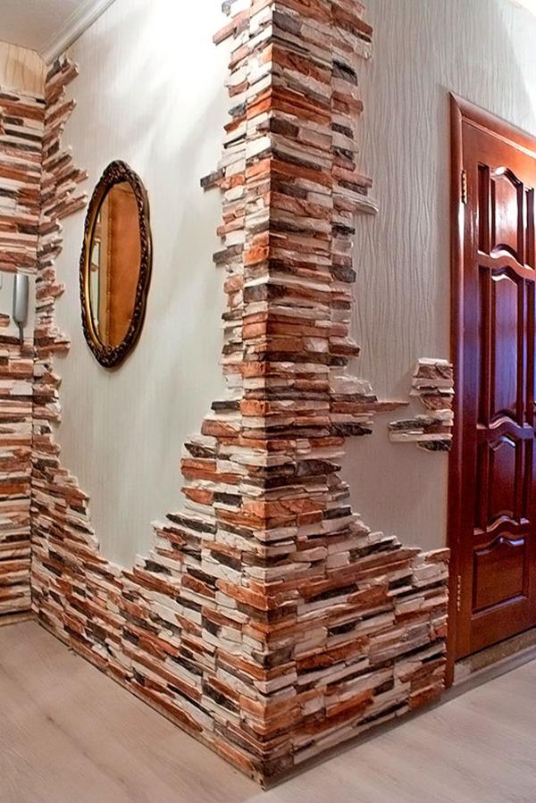 Отделка коридора цветным камнем
