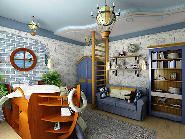 Детская комната с кораблем
