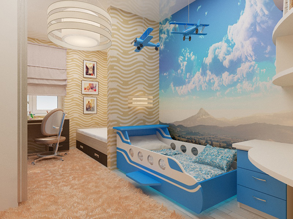 Детская комната  с самолетами