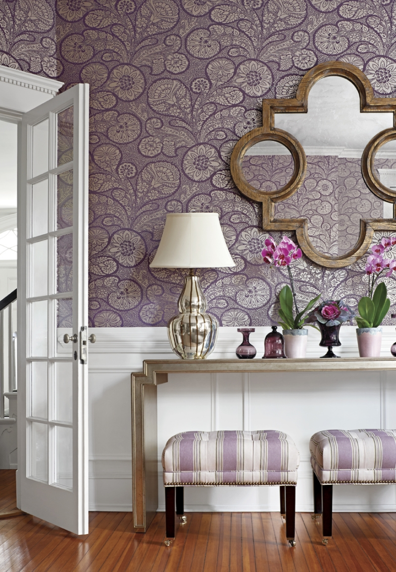Отделка коридора обоями фиолетовыми