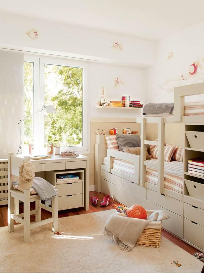 Детская комната для двух мальчиков бежевая