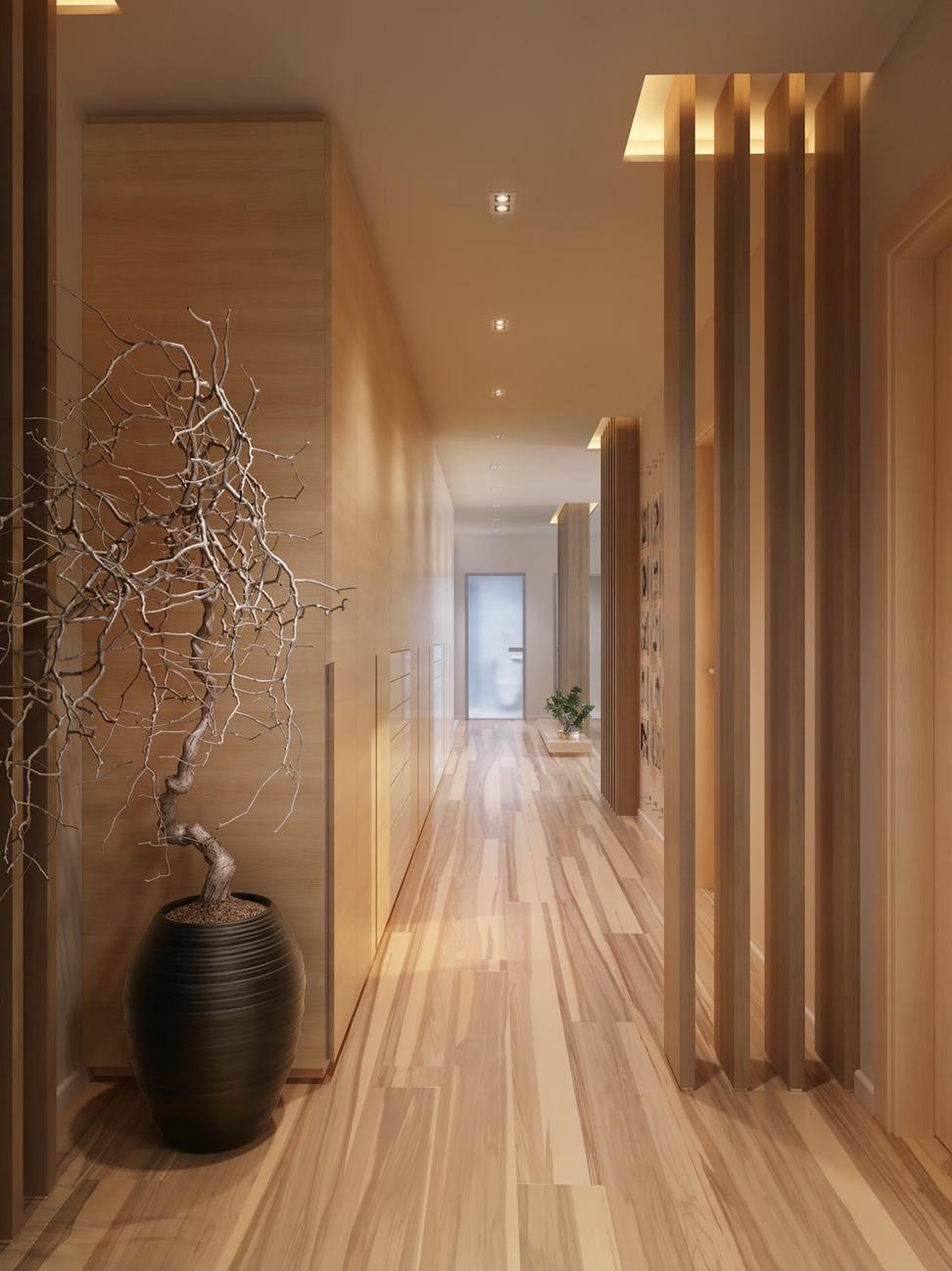 Оформление коридора деревом