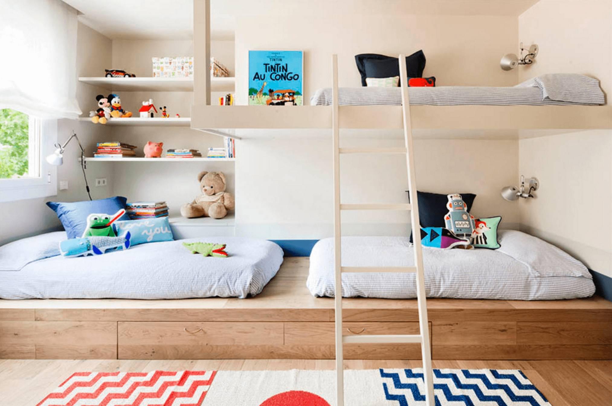 Функциональный дизайн детской для трех детей