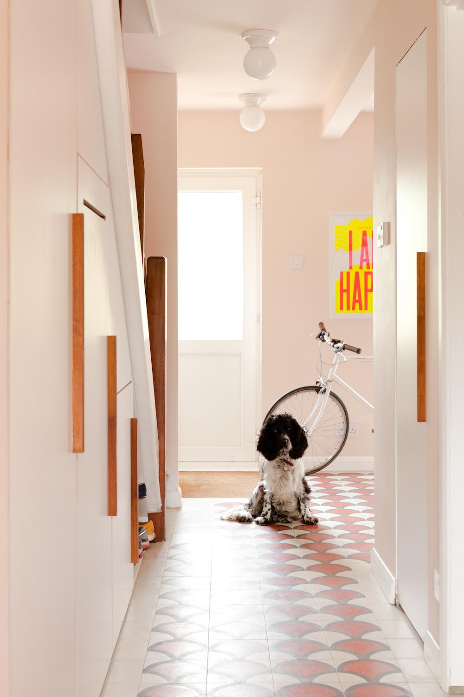 Оформление коридора кафелем при собаке