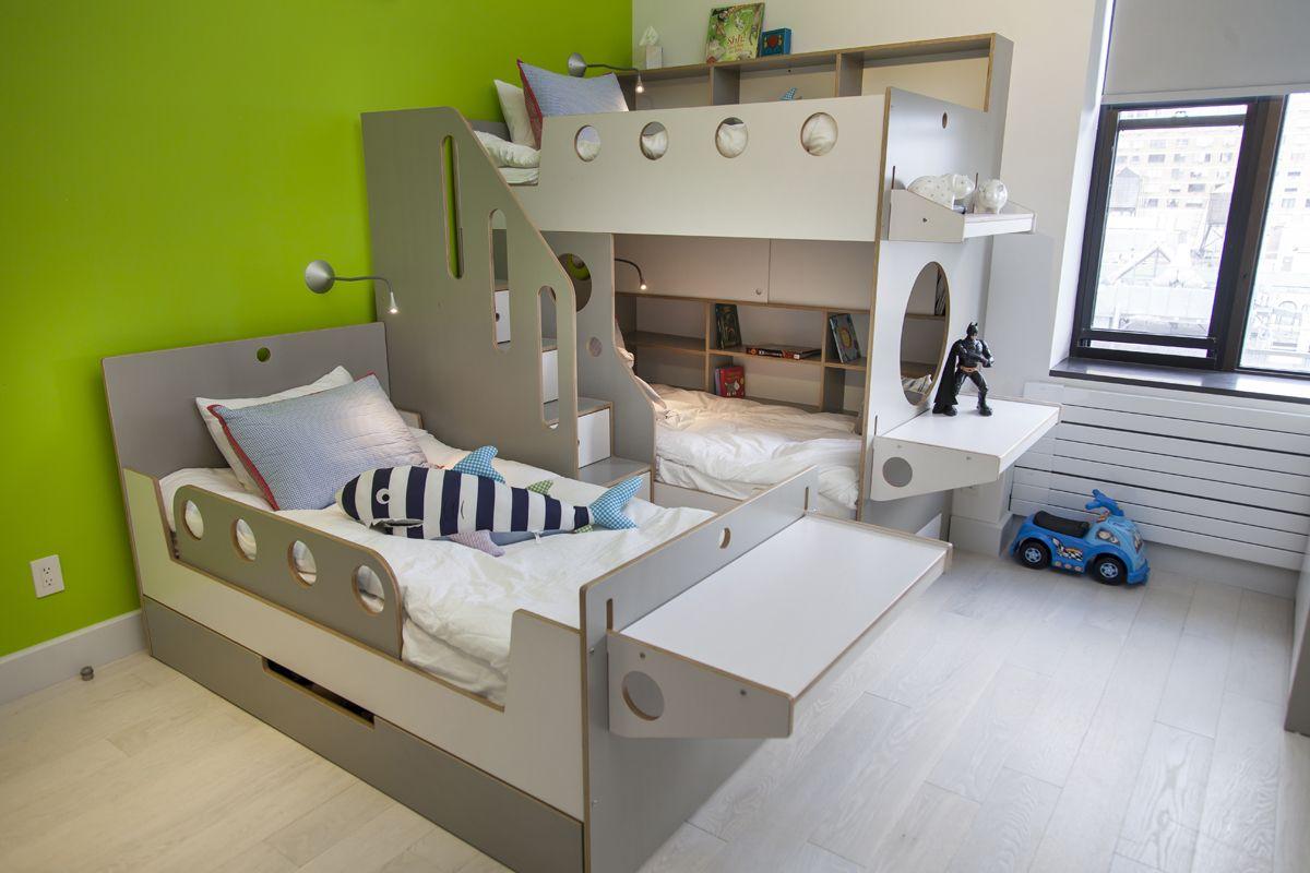 Дизайн детской для троих детей серый