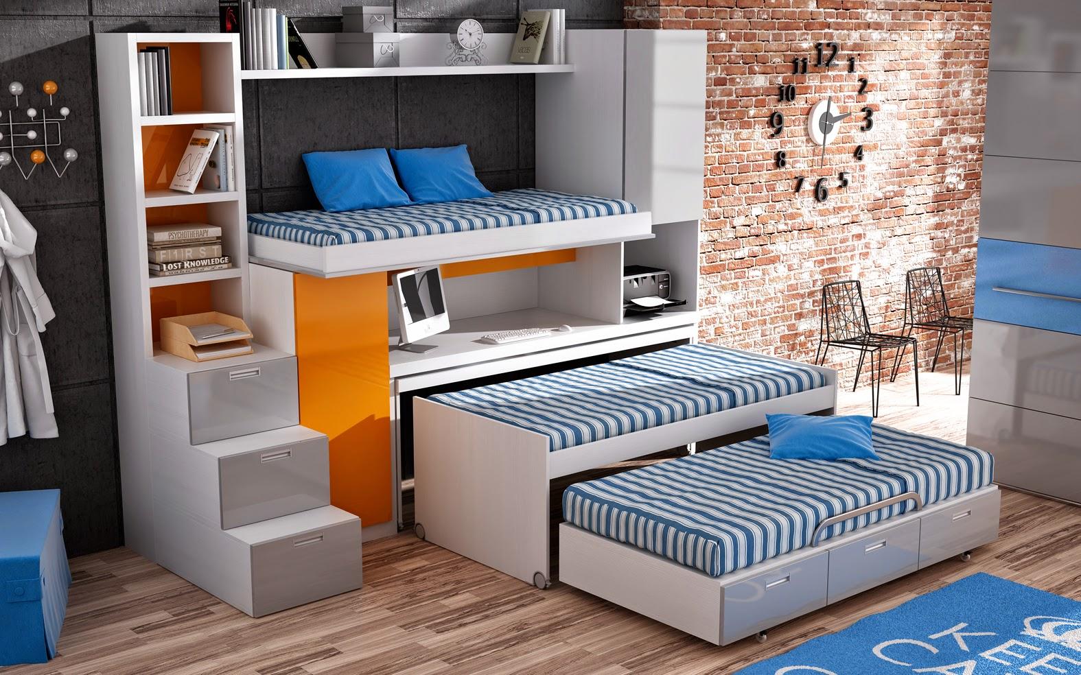 Дизайн детской для троих детей с мебелью трансформером