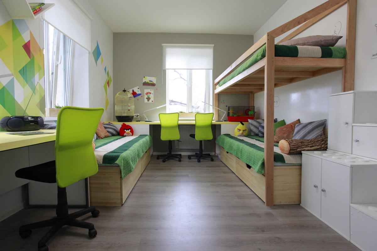 Детская для троих детей зеленая