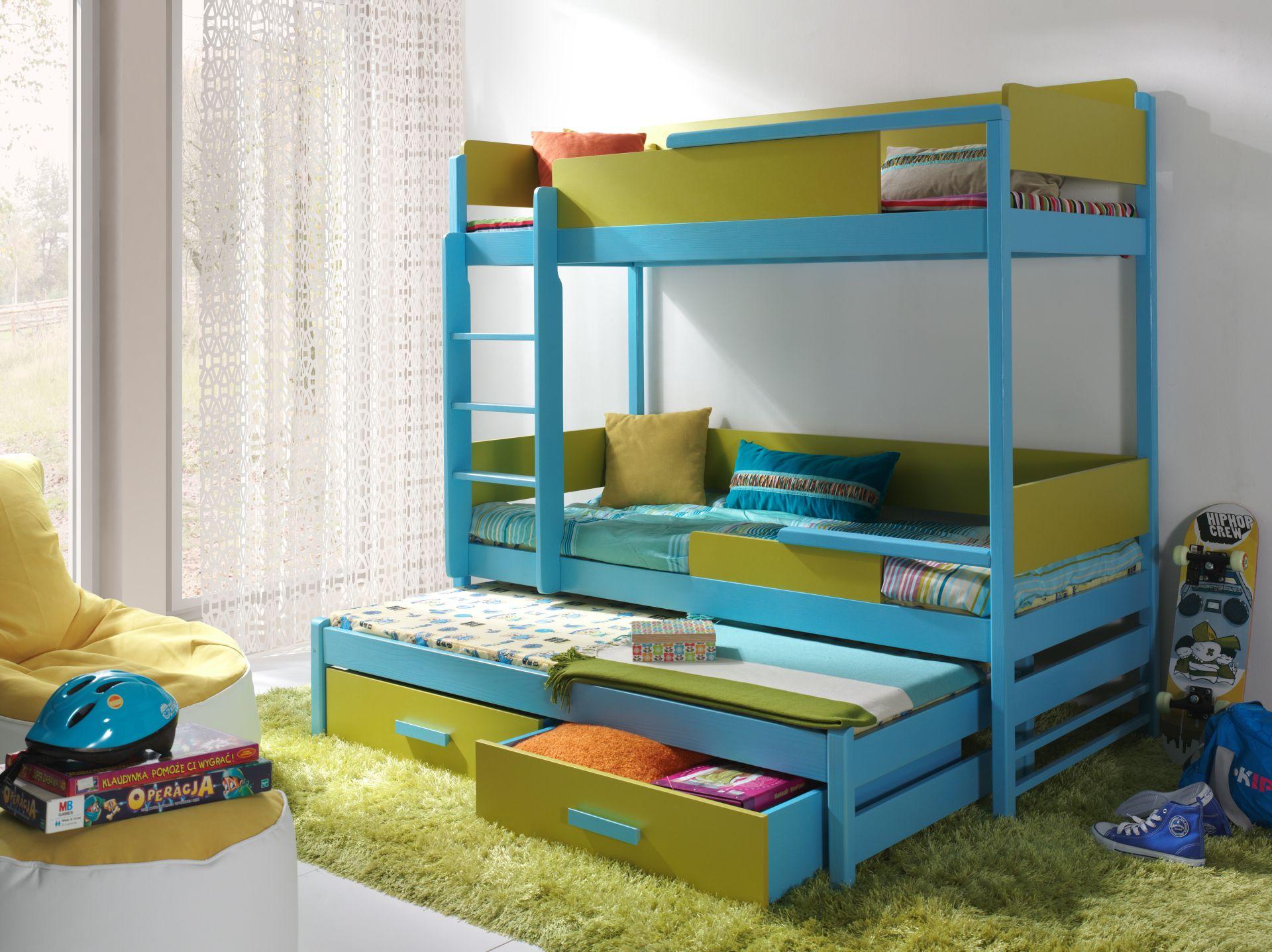 Дизайн детской для троих детей зеленый